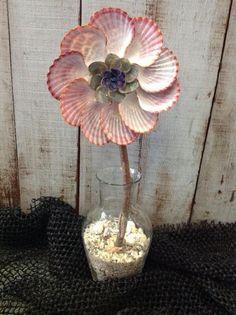 Seashell Flower, Cool Seashell Project Ideas, http://hative.com/cool-seashell-project-ideas/,
