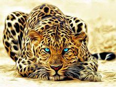 "Cheetah Blue Eye Fabric Art Cloth Poster 21x13 / 40x24"" Decor 34 | eBay"