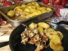 Kuracie prsia zapekané s hríbami a zemiakmi v pekáči / Výbušná Potato Salad, Turkey, Potatoes, Meat, Dali, Chicken, Vegetables, Ethnic Recipes, Food