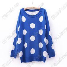 Discount China china wholesale Korean Womens Winter Wool Polka Dot Clothing Bat Sleeve in Long Loose Sweater Coat [30047] - US$37.49 : DealsChic