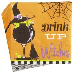 Drink Up Witches Cocktail Napkins | Omg so cute!! #halloween