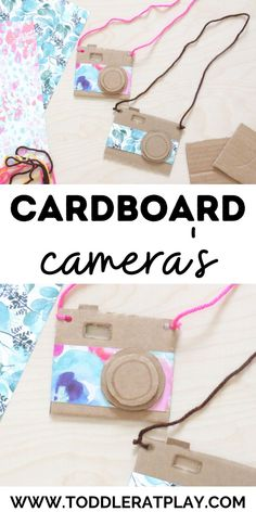 This Cardboard Camera Craft is a ton of fun! Who doesn't love an easy recycled craft idea using cardboard? With simple instructions and basic materials, these camera's are totally customizable too! Use different colors and types of string, choose different patterns for the card stock and more! Each one will look so different and unique! Easy crafts for kids #cardboardcrafts #recycledcrafts #cameracraft