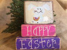 Primitive Country 3 pc Bunny Rabbit Happy Easter  Shelf Sitter Wood Block Set #Primitive #DoughandSplintersStudio