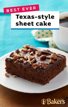 Best-Ever Texas Sheet Cake Start with chocolate cake mix and combine with chocolate pudding mix to create the base of this deliciously chocolatey dessert recipe. Along with a topping of melted chocolate COOL-WHIP and pecans this sweet treat has it all. Sheet Cake Recipes, Cupcake Recipes, Cookie Recipes, Cupcake Cakes, Dessert Recipes, Sheet Cakes, Cupcakes, Chocolate Cake Mixes, Melted Chocolate