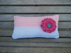cute pink and white crochet pillow