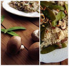 Le Passe Vite: Risoto de Cogumelos Paris e Ervilhas Tortas com Pinhões Torrados