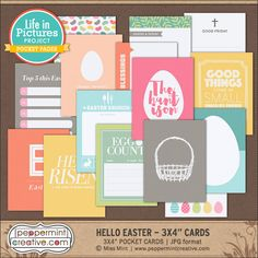 LIP: Hello Easter 3x4 Cards - $2.63 : Peppermint Creative, Digital Scrapbook Supplies