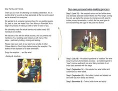 N&J's special story booklet about making their wine wedding favors at Your Own Winery.