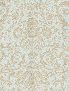 Medici (839-T-7683) - Thibaut Wallpapers - An elegant floral damask with antique effects shown here in pale blue and silver. Vinyl coated. This is an American wallcovering so will take 10-14 working days for delivery. Wide width. Please request sample for true colour match.