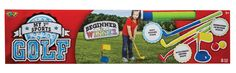 POOF My 1st Sports Golf. Kid friendly golf for indoor and outdoor fun. Made from durable, padded foam. Great sport for boys or girls. Includes a wedge, driver, putter, cup with flag and pole and 2 foam golf balls. Recommended for children 3 years of age and older.