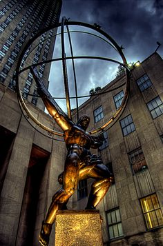 A landmark of New York City is the Art Deco Atlas sculpture in front of St. Patrick's Cathedral. The sculpture stands at 14 meters or 45 feet in height on top of a double pedestal. The sculpture was created by legendary sculptor Lee Lawrie whose many works are considered national landmarks with the help of another legend such as Rene Paul Chambellan who progressed the Art Deco movement.