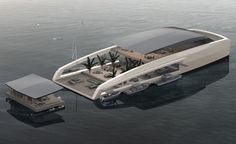 Created by designers in Monaco, the X R-Evolution yacht is designed to give its owners privacy so they could stay in floating 'bungalows' by the beach. Yacht Design, Boat Design, Floating Architecture, Floating House, Floating Garden, Floating Island, Cool Boats, Yacht Boat, Luxury Yachts