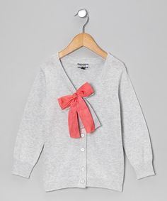 Take a look at this Gray & Coral Double Bow Cardigan - Girls on zulily today!