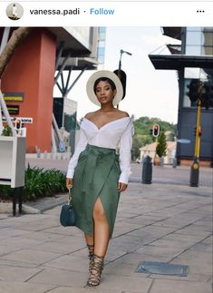 Green high slit skirt white off shoulder top white hat look 19b5c55ee275