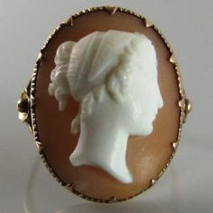 This is a beautiful example of the Cameo ring which is set in rose gold. There is lovely detail on the band of the ring which gives character to this piece. This is a subtantial ring on the hand with the cameo measuring x Price: 395 Euro Sku: 1516 Cameo Ring, Cameo Jewelry, Rose Gold Jewelry, Gold Jewellery, Vintage Diamond, Vintage Rings, Unique Vintage, Vintage Jewelry, Galway Ireland
