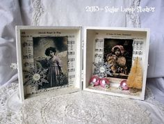 Altered  Christmas Shadow Box with Bottle Brush tree and sparkling embellishments OOAK