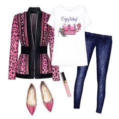 Enjoy today outfit. Tailored jacket, Doll Memories graphic tee, dark blue jeans, pink flats