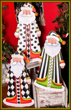 Black and white themed Santa Clause Christmas Yard, Christmas Signs, All Things Christmas, Handmade Christmas, Christmas Holidays, Christmas Decorations, Christmas Ornaments, Wooden Ornaments, Christmas Ideas