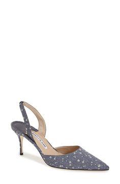 5914bba4b20 Gray shoes · Manolo Blahnik  Carolyne  Pointy Toe Slingback Pump (Women)  available at  Nordstrom