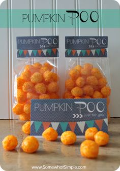 Haha, this is hilarious! Pumpkin Poo - fun treat for classmates or trick or treaters!