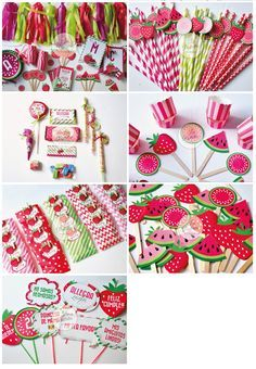 Cumpleaños Summer #partytheme #watermelon #strawberry #pink #green #partygirl #candybar #souvenir #sorpresitas #toppers #golosinaspersonalizadas #guirnaldas #garland