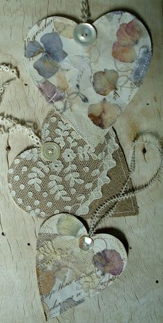 Love this idea of collage hearts with wallpaper, lace, pressed flowers etc.