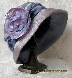 Vintage Blue Bonnet With Handmade Satin Flower - $35.00 - Vintage Items and Unique Gifts by Yankee Burrow