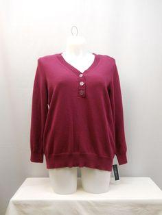 Karen Scott Berry Long Sleeves Button Y-Neck Medium Knit Henley Sweater Size 1X  #KarenScott #Henley