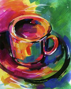 Coffee Dreams 1 by Kathy Morton Stanion Coffee Cup Art, Coffee Coffee, Coffee Break, Morning Coffee, Framed Prints, Canvas Prints, Art Prints, Chihuahua Art, Kitchen Art