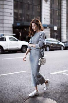 Gray knit matching set