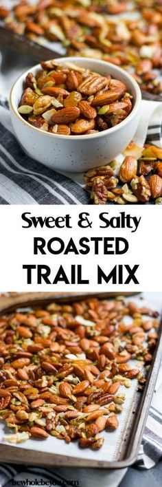 Sweet and Salty Roasted Trail Mix. Give your average trail mix a big boost with this sweet and salty roasted version. A hint of maple and vanilla, along with sea salt make the perfect snack, even when you aren't on the trail! bewholebeyou.com