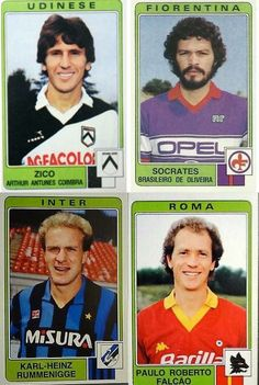 Serie A Italy (1984/85): Zico (Udinese), Sócrates (Fiorentina), Rummenigge (Inter) and Falcão (Roma).