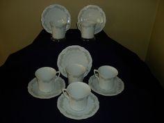 Vintage Tirschenreuth Orleans Baronesse porcelain cups and saucers set of 6