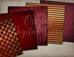 Red & Gold Heraldic Lion Backgrounds by Origins Digital Curio on @creativemarket