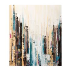 "Graham & Brown City Canvas Art  $68.95 99.00  Make a statement in your living room or home office with this abstract art from Graham & Brown, beautifully hand-painted and gallery-wrapped.    Product: Wall art  Construction Material: Canvas  Features:  Gallery wrapped canvas  Vibrant color pallet, subtle texture and contemporary style  Textured hand-painted embellishments  Size: 28"" H x 24"" W"