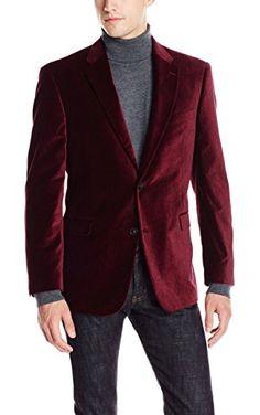 Tommy Hilfiger Men s Gibbs 2 Button Pattern Velvet Blazer 39047b2bee2c