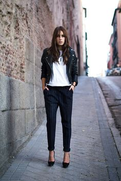 Pinstripe, leather Moto jacket, shoes