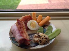 Ham, bacon, egg hummus, snow peas