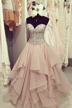 Elegant chiffon tiered A-line sweetheart sequins long dress ,cute graduation dresses