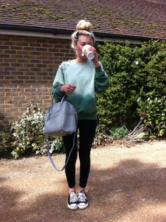 Image detail for -sweater, studs, studded, green, pikes, aqua blue, dip dyed, ombre, bag ...
