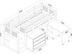 Cabin Bed With Stair Storage - Neutron