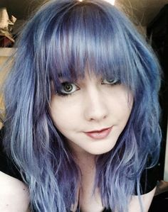 lilac hair with bangs. love the color!