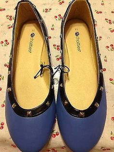New Sexy Retro Periwinkle Blue Black Studded Faux Leather Flats Size 11