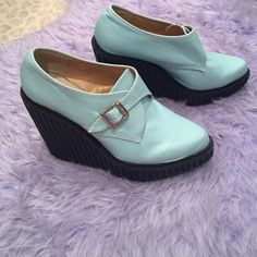 Deena & Ozzy Light Blue Wedge Heel size 8 Great condition, only worn once. They are so comfortable and easy to walk in! Very easy to get on and off as well. ✨ Deena & Ozzy Shoes Wedges