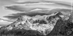 Cordillera Del Paine With Lenticular Clouds, Black and White photography, B&W