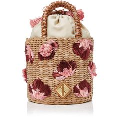 Aranaz Ella Medium Bucket Bag found on Polyvore featuring bags, handbags, shoulder bags, multi, woven leather handbags, beige shoulder bag, beige purse, embroidered handbags and raffia handbags
