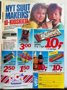 10 kioski Childhood Toys, Childhood Memories, Retro Candy, Old Commercials, Good Old Times, Vintage Ads, Finland, Album Covers, Nostalgia