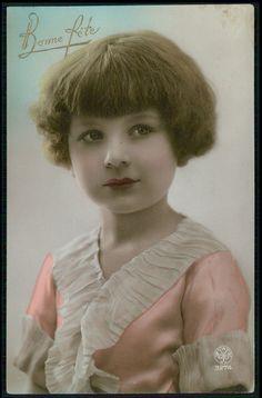 Art Deco 1920s original vintage photo postcard romance girl child beautiful look