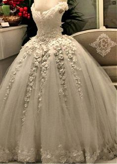 Attractive Tulle & Satin Off-the-shoulder Neckline Ball Gown Wedding Dresses With Lace Appliques