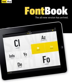 FontBook for iPad holds the equivalent of 20 printed Font Books. Perfect for graphic designers. Found at http://www.fontshop.com/blog/newsletters/fontbookipad/
